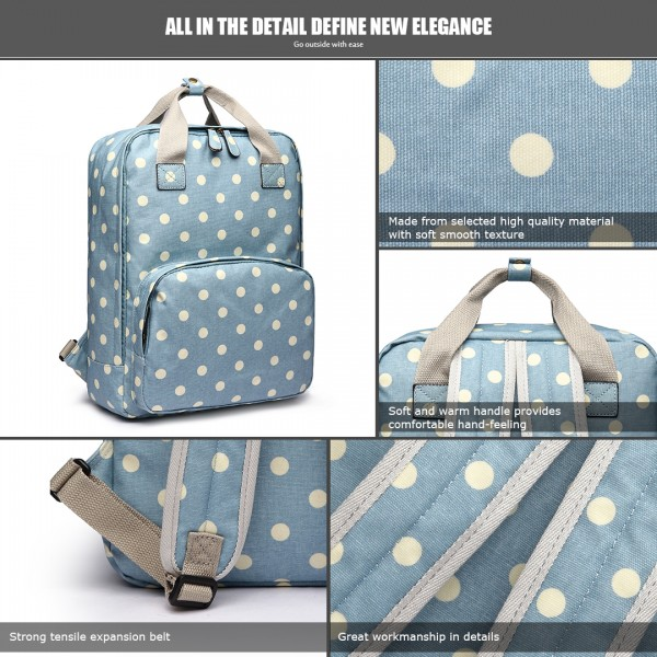 LG1807D2-Polka Dots Retro Backpack School Bag Travel Rucksack Laptop Bag Blue