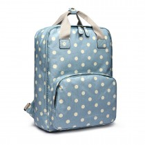 LG1807D2-Polka Dots Retro Backpack School Bag Mochila de viaje Laptop Bag Blue