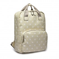 LG1807D2-Polka Dots Retro Backpack School Bag Travel Rucksack Laptop Bag Beige