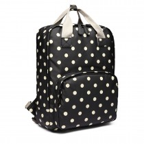 LG1807D2-Polka Dots Retro Backpack School Bag Mochila de viaje Laptop Bag Black