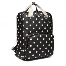 LG1807D2-Polka Dots Retro Backpack School Bag Travel Rucksack Laptop Bag Black