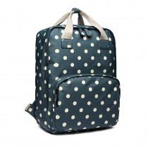 LG1807D2-Polka Dots Retro Mochila Mochila escolar mochila de viaje portátil bolsa verde oscuro
