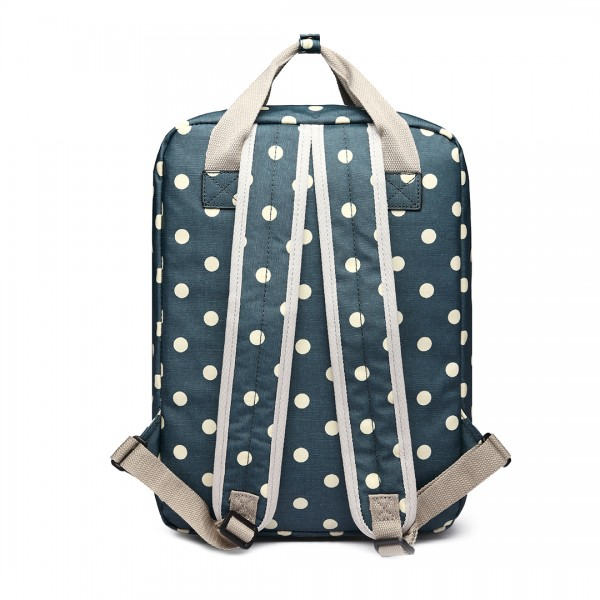 LG1807D2-Polka Dots Retro Backpack School Bag Travel Rucksack Laptop Bag Dark Green