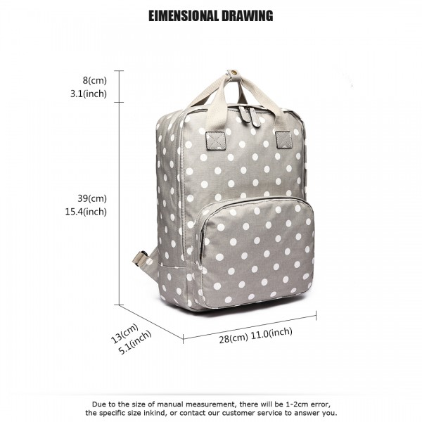LG1807D2-Polka Dots Retro Backpack School Bag Travel Rucksack Laptop Bag Grey