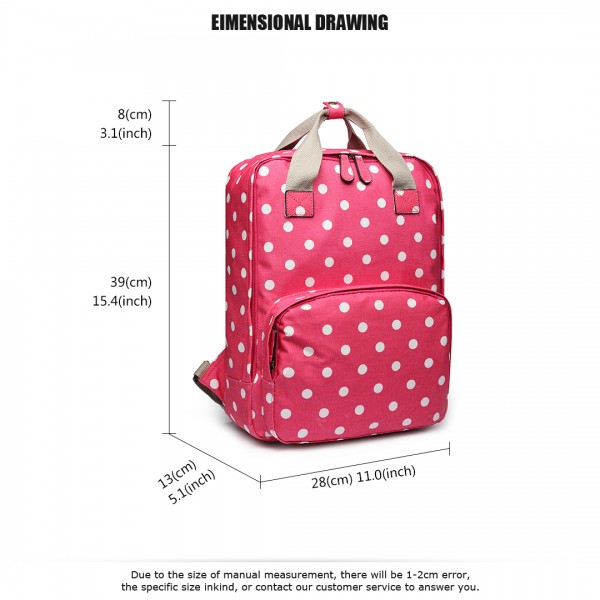 LG1807D2-Polka Dots Retro Backpack School Bag Travel Rucksack Laptop Bag Plum