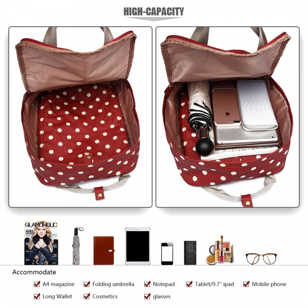 LG1807D2-Polka Dots Retro Backpack School Bag Travel Rucksack Laptop Bag Red