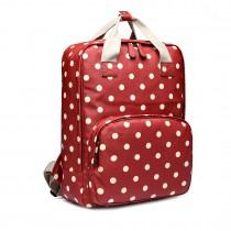 LG1807D2-Polka Dots Retro Backpack School Bag Mochila de viaje Laptop Bag Rojo