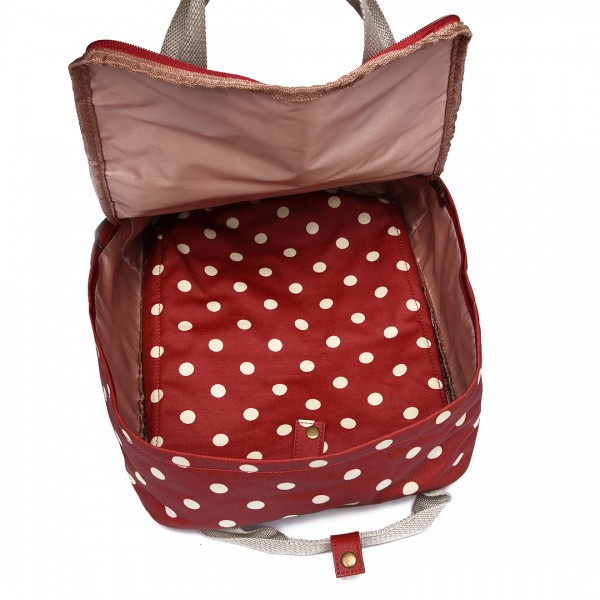 LG1807D2-Polka Dots Retro Backpack School Bag Travel Rucksack Laptop Bag Red
