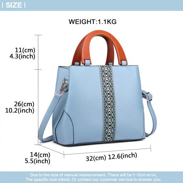 LG1843-MISS LULU PU LEATHER WOODEN HANDLE SHOULDER BAG BLUE