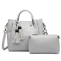 LG1844 - MISS LULU LEATHER LOOK 2 IN 1 BUCKET HANDBAG - GREY