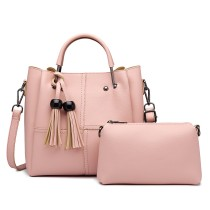 LG1844 - MISS LULU LEATHER LOOK 2 IN 1 BUCKET HANDBAG - PINK