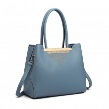 LG1845 - Miss Lulu Studded Triangle PU Leather Shoulder Bag - Blue