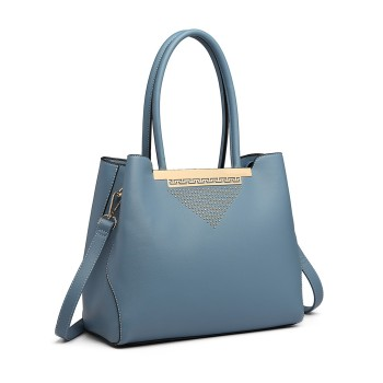 LG1845-MISS LULU LEATHER HANDBAG EXQUISITE HARDWARE DECORATION SHOULDER BAG BLUE