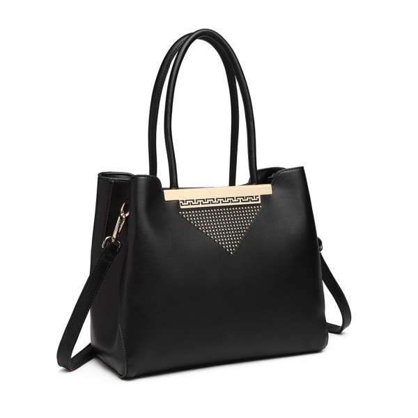 LG1845 - Miss Lulu Studded Triangle PU Leather Shoulder Bag - Black