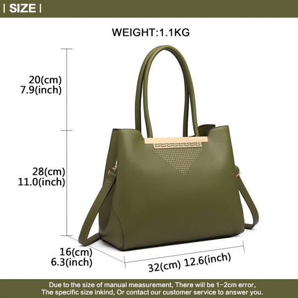 LG1845 - Miss Lulu Studded Triangle PU Leather Shoulder Bag - Green