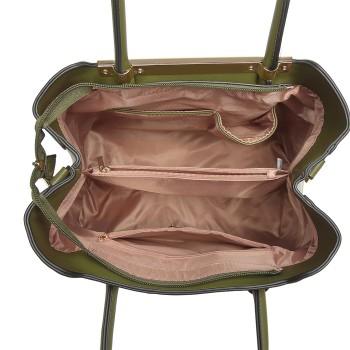 LG1845-MISS LULU LEATHER HANDBAG EXQUISITE HARDWARE DECORATION SHOULDER BAG GREEN