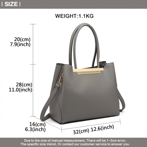 LG1845 - Miss Lulu Studded Triangle PU Leather Shoulder Bag - Grey