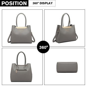 LG1845-MISS LULU LEATHER HANDBAG EXQUISITE HARDWARE DECORATION SHOULDER BAG GREY