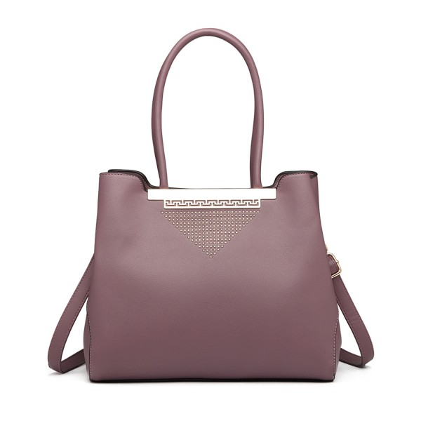 LG1845 - Miss Lulu Studded Triangle PU Leather Shoulder Bag - Purple