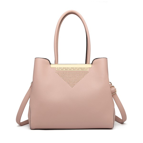 LG1845 - Miss Lulu Studded Triangle PU Leather Shoulder Bag - Pink