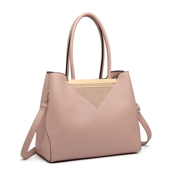 LG1845 - Miss Lulu Studded Triangle PU Leather Shoulder Bag - Pink