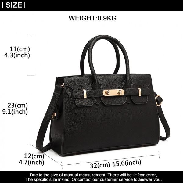 LG1846-MISS LULU PEBBLED LEATHER LOOK HANDBAG SHOULDER BAG BLACK