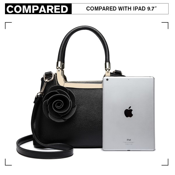 LG1847-MISS LULU PU LEATHER ROSE HANGING ORNAMENT HANDBAG BLACK