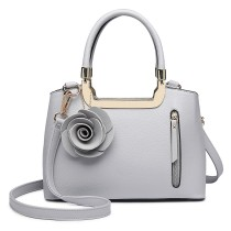 LG1847-MISS LULU PU LEATHER ROSE HANGING ORNAMENT HANDBAG  GREY