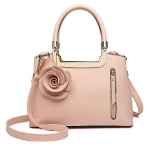 LG1847-MISS LULU PU LEATHER ROSE HANGING ORNAMENT HANDBAG PINK