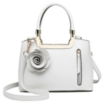 LG1847-MISS LULU PU LEATHER ROSE HANGING ORNAMENT HANDBAG WHITE