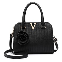 LG1848-MISS LULU PU LEATHER V LOGO HANDBAG ROSE HANGING BLACK