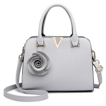 LG1848-MISS LULU PU LEATHER V LOGO HANDBAG ROSE HANGING GREY