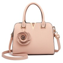 LG1848-MISS LULU PU LEATHER V LOGO HANDBAG ROSE HANGING PINK