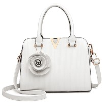 LG1848-MISS LULU PU LEATHER V LOGO HANDBAG ROSE HANGING WHITE