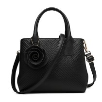 LG1849-MISS LULU PU LEATHER ROSE ORNAMENT TWILL HANDBAG BLACK