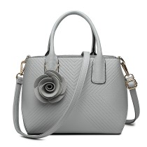 LG1849-MISS LULU PU LEATHER ROSE ORNAMENT TWILL HANDBAG GREY