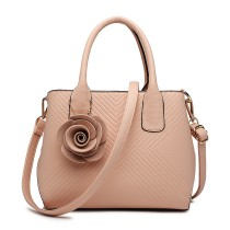 LG1849-MISS LULU PU LEATHER ROSE ORNAMENT TWILL HANDBAG PINK
