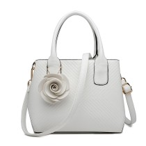 LG1849-MISS LULU PU LEATHER ROSE ORNAMENT TWILL HANDBAG WHITE