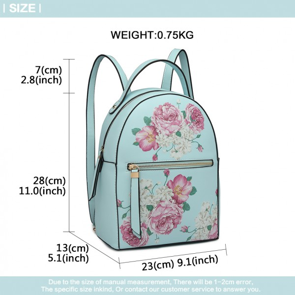 LG1866F-MISS LULU STYLISH LADIES RUCKSACK LEATHER PRINTED BACKPACK BLUE