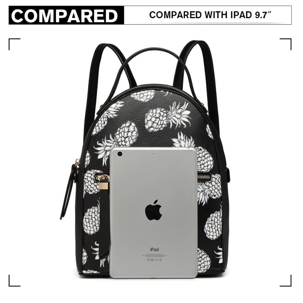 LG1866P-MISS LULU STYLISH LADIES RUCKSACK LEATHER PRINTED BACKPACK BLACK