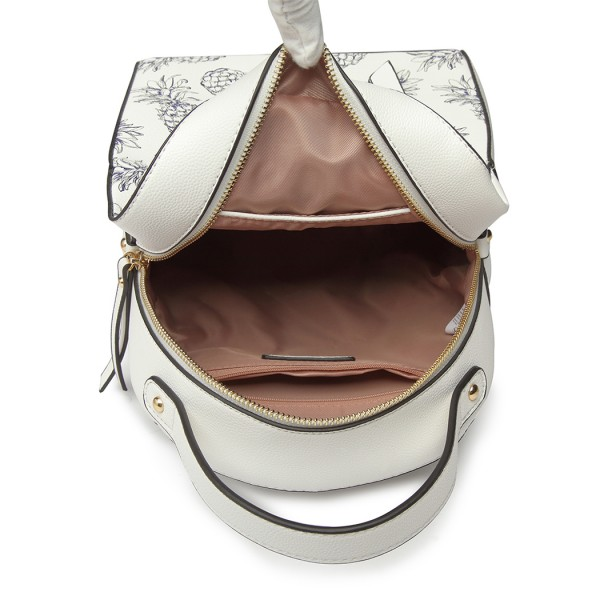 LG1866P-MISS LULU STYLISH LADIES RUCKSACK LEATHER PRINTED BACKPACK WHITE