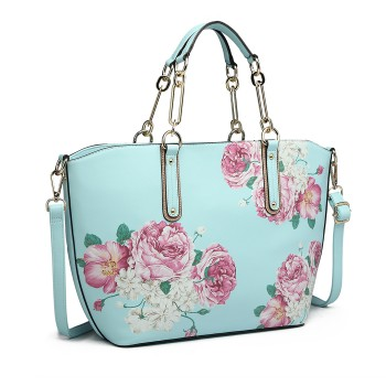 LG1867F-MISS LULU PRINTED LEATHER 3PCS TOTE SHOULDER BAG WITH PURSE BLUE