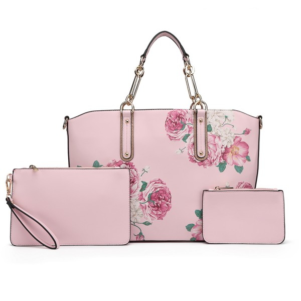 LG1867F-MISS LULU PRINTED LEATHER 3PCS TOTE SHOULDER BAG WITH PURSE PINK