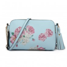 LG1868F-MISS LULU PU LEATHER FLORAL TASSEL HANDBAG SHOULDER BAG  BLUE