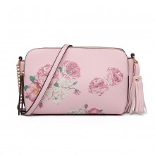 LG1868F-MISS LULU PU LEATHER FLORAL TASSEL HANDBAG SHOULDER BAG  PINK