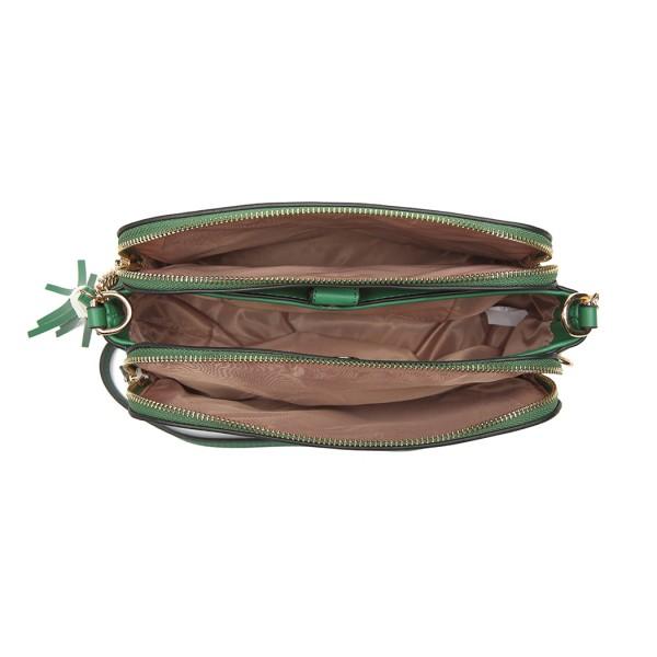 LG1869-MISS LULU PU LEATHER TASSEL ORNAMENT SHOULDER BAG CROSSBODY BAG GREEN