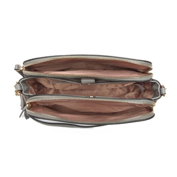 LG1869-MISS LULU PU LEATHER TASSEL ORNAMENT SHOULDER BAG CROSSBODY BAG GREY