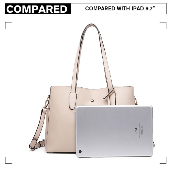LG1902 - MISS LULU TRIPLE COMPARTMENT TOTE BAG - BEIGE