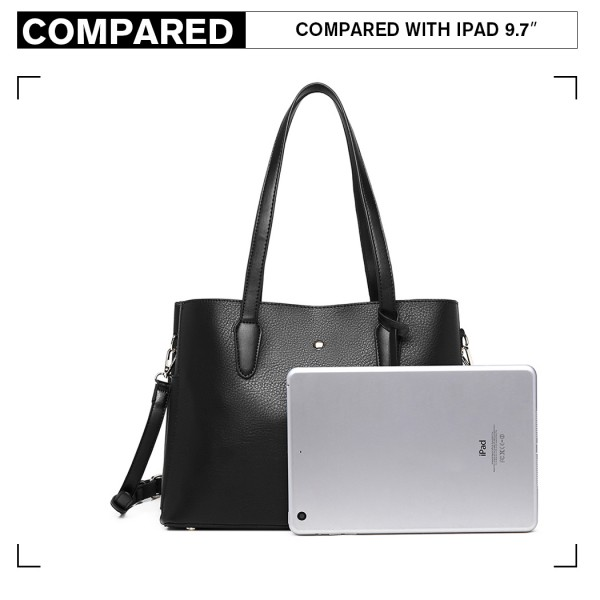 LG1902 - MISS LULU TRIPLE COMPARTMENT TOTE BAG - BLACK