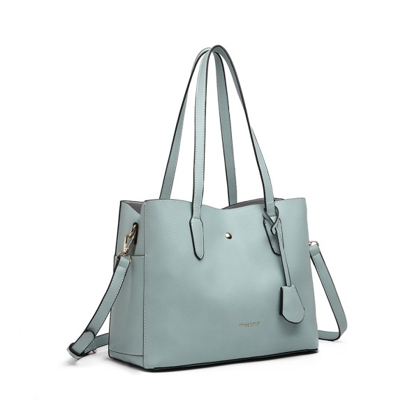 LG1902 - MISS LULU TRIPLE COMPARTMENT TOTE BAG - GREEN